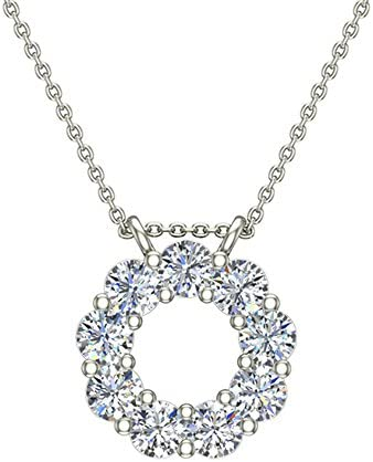 "0.80 ct Circle Diamond Necklace Pendant 14K Gold with 20""Chain (G,VS) Signature Rare Quality"