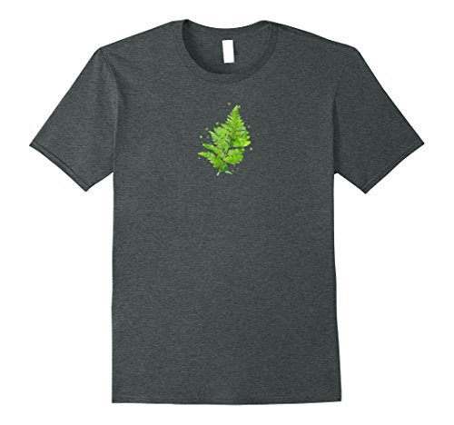 Mens Green Fern Leaf Frond Watercolor Art Print T-Shirt Small Dark Heather (Art Com Feather Print)