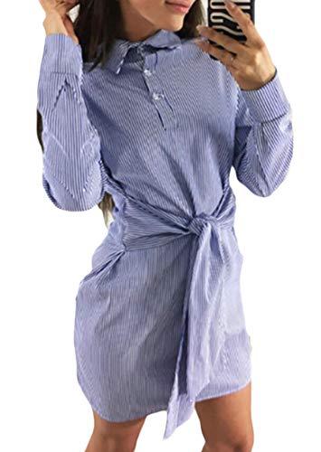 Lapel Short Striped Size Dress Plus Belted Women Shirt Domple Down Button Blue B5pwqR5
