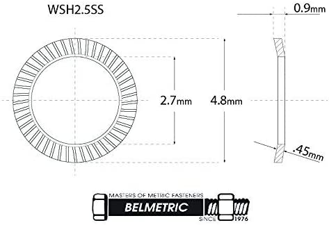 M2.5 Stainless SCHNORR Brand Ribbed Safety Spring Lock Washer Metric BelMetric WSH2.5SS-X 100pcs