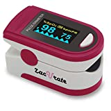 Zacurate Pro Series 500C Deluxe Fingertip Pulse Oximeter Blood Oxygen Saturation Monitor with Silicon Cover, Batteries and Lanyard (Ruby Red)