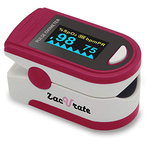 Zacurate Pro Series 500D Deluxe Fingertip Pulse Oximeter Blood Oxygen Saturation Monitor with Silicon Cover, Batteries and Lanyard (Ruby Red)
