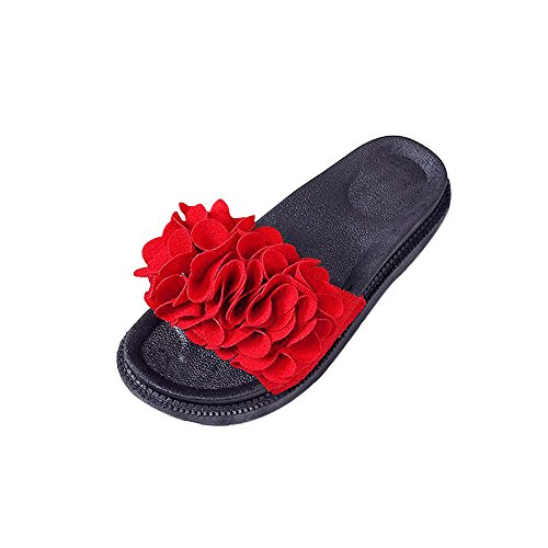 QBQCBB Women Fashion Solid Color Flower Thick Bottom Flat Shoes Sandals Slipper Red(Red,40)