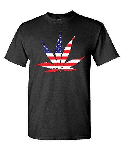 American Flag Pot Leaf Marijuana Freedom   Mens Cotton T Shirt  L  Black