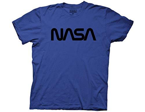 - Ripple Junction NASA Adult Unisex Worm Logo Black Foil Light Weight 100% Cotton Crew T-Shirt 2XL Royal Blue