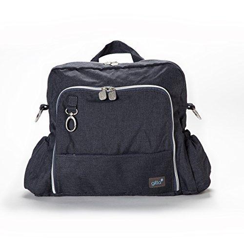Clean Dark Denim - Gitta Ideal Multi Function Baby Nappy Changing Diaper Bag, Dark Blue Denim