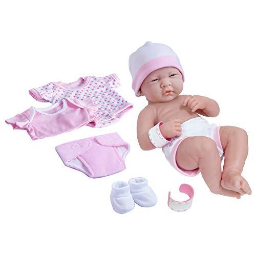 8 piece Layette Baby Doll Gift Set   JC Toys – La Newborn Nursery   14″ Life-Like Newborn Doll w/ Accessories   Pink   Ages 2+