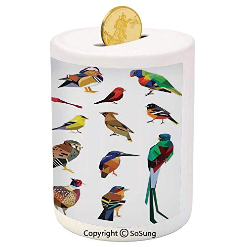 SoSung Flying Birds Decor Ceramic Piggy Bank,Colored Collection of Bird Set with Poly Design Triangle Mosaic Illustration for Living 3D Printed Ceramic Coin Bank Money Box for Kids & Adults,Multi
