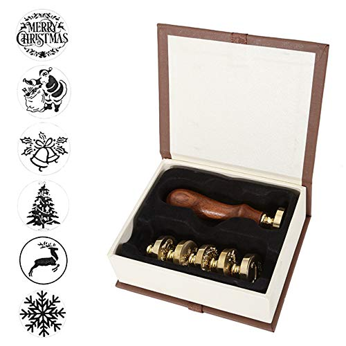 - Wax Seal Stamp Set, Mornajina 6 Pieces Christmas Sealing Wax Stamps+1 Wooden Hilt, Valentine's Day Wax Stamp Kit with Gift Box (Christmas #2)