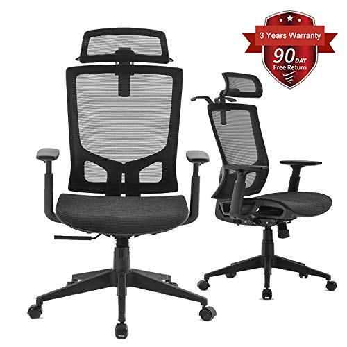 Office Chair, Ergonomic Reclining Desk Chair, Modern Design Executive Swivel Chair, High Back Mesh with Adjustable Headrest and Armrests