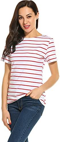 Women Striped Long Sleeve Tunic Tops and Short Sleeve Stripes T-Shirt Blouse