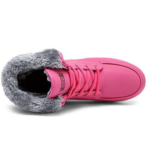 Antidérapant Femmes De Boots Chaud Pour Impermeable Fourrure Cheville Bottes Hiver Saguaro Noir Bottines Neige Fourrées Chaussures BaTSxaz