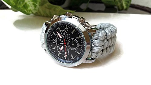 Men's fashion gray black brown paracord 550 bracelet watch steel Chrono analog parachute (Face Chronometer Quartz Movement)