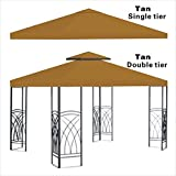 Replacement 10'X10'gazebo canopy top patio pavilion cover sunshade plyester double tiers-TAN