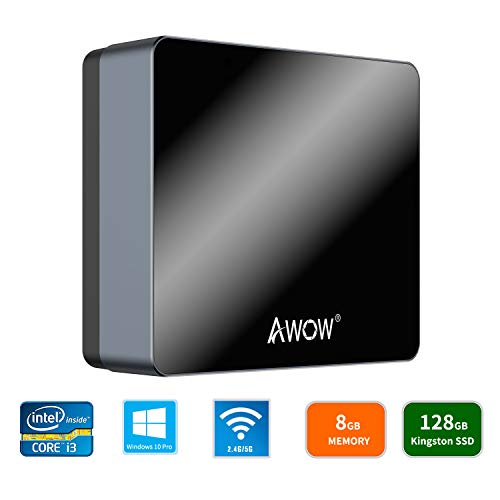 AWOW NYi3 Mini PC Intel Core i3 Windows 10 Pro Mini Computer(8GB DDR/128GB Kingston SSD/4K/Dual-Band Wi-Fi/Gigabit Ethernet/Dual HDMI/BT4.0)/Mini Desktop Computer