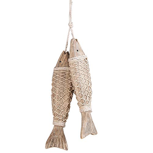 Trycooling Set of 2 Mediterranean Style Hanging Wooden Fish Home Decoration Ornament for Home Wall Decor (Large)