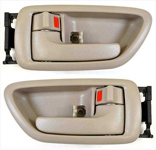 (Eynpire 8076 Interior Inside Left Driver Side & Right Passenger Side Pair Set Door Handle Beige For 2001-2007 Toyota Sequoia; 2004-2006 Toyota Tundra - Crew Cab ONLY)