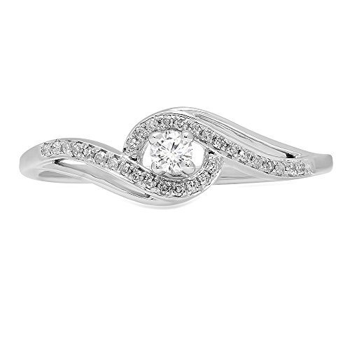 DazzlingRock Collection 0.15 Carat (ctw) 14K Gold Round White Diamond Swirl Split Shank Bridal Promise Engagement Ring