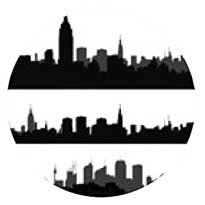 alfombrilla de ratón silueta de la ciudad, en parte, la interpretación negro 10 - ronda - 20cm