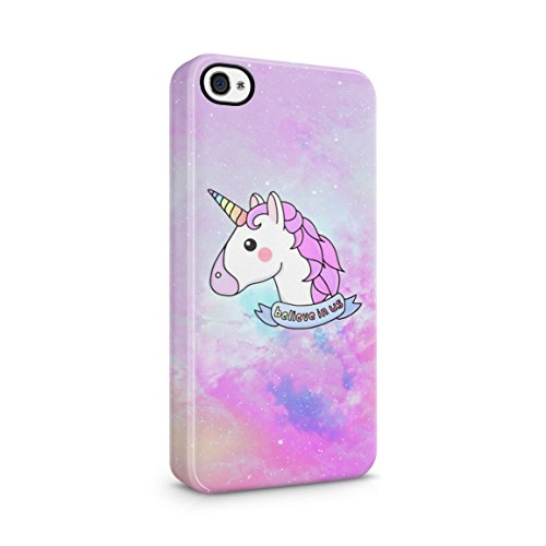 Unicorn Head Believe in Us Hard Plastic Phone Case for iPhone 4 & iPhone 4s (Iphone 4s Magic Mobile)