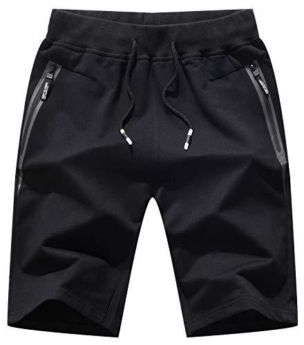 QPNGRP Mens Shorts Casual Drawstring Zipper Pockets Elastic Waist Black 29 ()