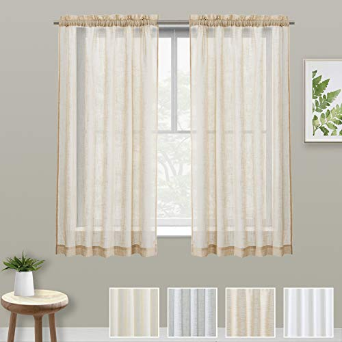 - XWTEX Tier Curtains for Kitchen Pole Top Cafe Curtains Linen Semi Sheer Half Window Curtains for Living Room, 2 Pieces, L45, Taupe
