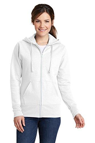 Port & Company Women's Classic Full-Zip Hooded Sweatshirt LPC78ZH White Medium from PORT AND COMPANY