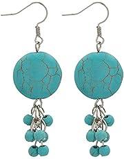 Azalea EROE149 Dangle Earring For Women-Silver Turquoise