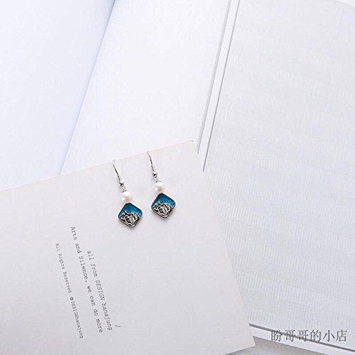 usongs minimalist handmade sea waves freshwater pearl earrings beach resort cool blue earrings ()