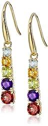 18k Yellow Gold-Plated Sterling Silver Multi-Gemstone Journey Dangle Earrings