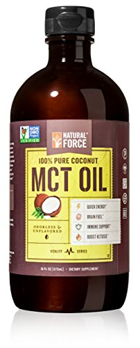 Natural Force® MCT Coconut Oil *RANKED #1 BEST MCT OIL* w/ NO Palm Oil only Organic Coconuts from the Philippines - Project Non-GMO, Certified Paleo, Vegan Safe, Gluten Free, MCT Oil 16 Ounces (Mct Oil Organic)