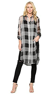 System Casual Womens Long Sheer Botton Down Plaid and Zebra Print Blouse Top Dress