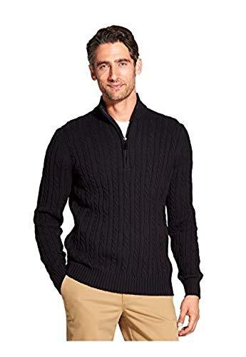 IZOD Men's Premium Essentials Cable Knit 1/4 Zip Sweater (Black, ()