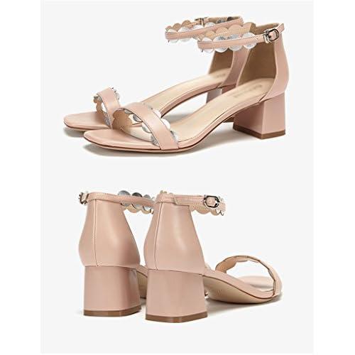 De bajo costo ZCJB Zapatos De Mujer Summer Word Hebilla Zapatos De Tacón  Medio Grueso Con dfc90ee6d722
