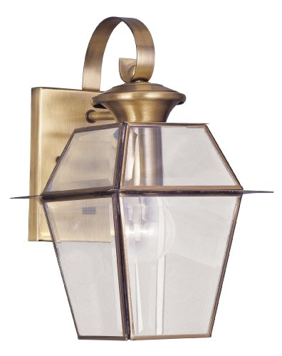 Livex Lighting 2181-01 Westover 1-Light Outdoor Wall Lantern, Antique Brass