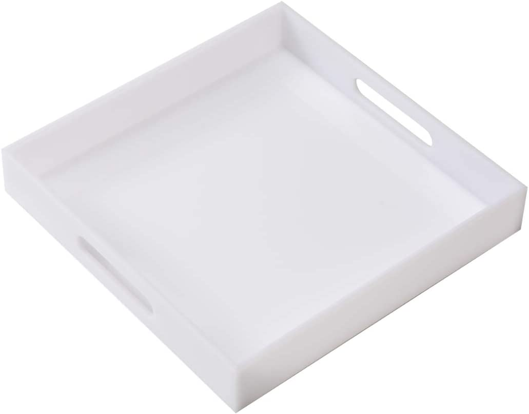 """Glossy White Sturdy Acrylic Serving Tray with Handles-12x12x2H Inch-Thickness of 3/16"""" Inch- Countertop Organizer for Kitchen,Bathroom,Office,Bar- Storage Box for Cosmetics, Jewelry,Toiletries,Toys"""