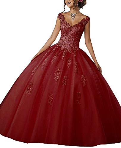 New Gown Quinceanera (Meledy Women's Sweet Girls 16 V-Neck Beaded Lace New Quinceanera Dresses Ball Gowns Prom Gowns Burgundy US2)