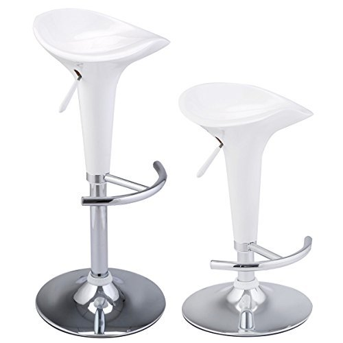 2 Pcs Of White Modern Adjustable Swivel Barstools Bombo Counter Chair With Ebook