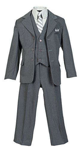 (Boys Pinstripe Suit Set with Matching Tie LTGY 8)