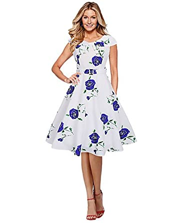 94275cf0 ELECTROPRIME Women's Casual/Daily Formal Simple Loose Sheath Dress,Floral  Round Neck Knee-Length Short Sleeve Polyester Blue Red Purple All  SeasonsLow: ...