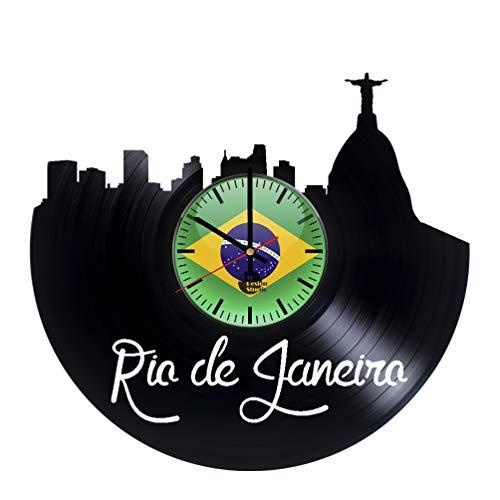 Rio de Janeiro Vinyl Clock - Rio de Janeiro City Skyline Brazil Vinyl Records Wall Art Room Decor Handmade Decoration Party Supplies Theme - Best Original Present Gift Idea - - Birthday Supplies Party 2 Rio