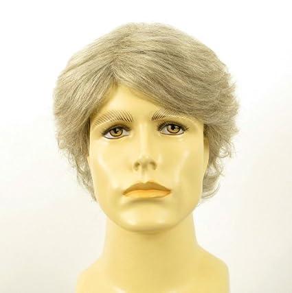 Peluca hombre corto de cabello 100% natural blanco y gris JUSTIN 51