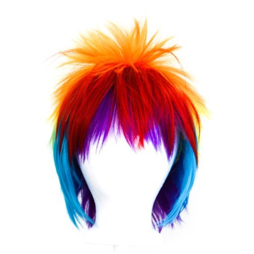 [Sora - Rainbow Blend Wig 13'' Spiky Short Cut by Purple Plum Inc.] (Rainbow Spiky Wig)