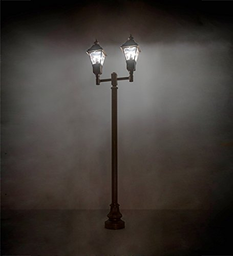 Meyda Tiffany 173838 47 in. Length Carefree 2 Lantern Outdoor Street Lamp44; Rustic Bronze