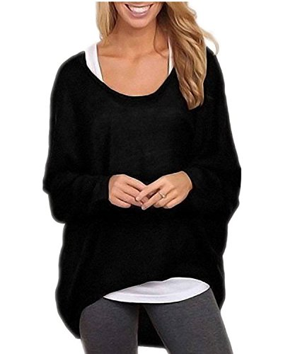 Yidarton Womens Summer Casual Shirts Oversized Baggy Off-Shoulder Long Sleeve Tops Black X-Large