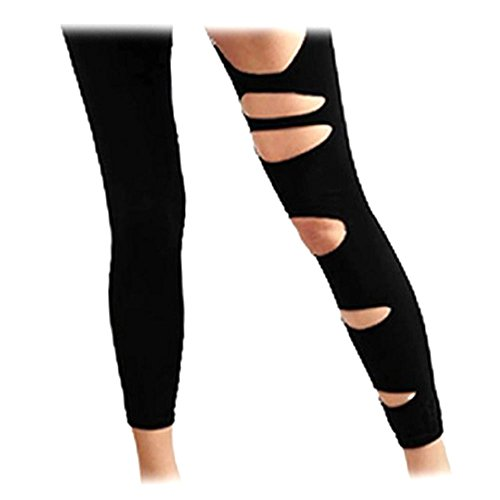 Black Footless Ripped Leggings Sexy Pants One Size XS ~ (Ripped Leggings Halloween)
