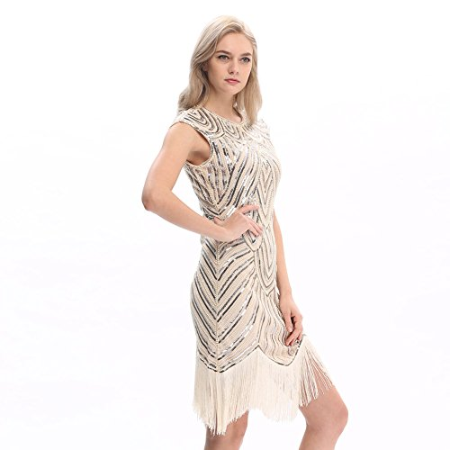 [Pilot-trade Women's 1920's Dress Flapper Vintage Great Gatsby Charleston Party Dress L] (Latin Costumes Dresses)