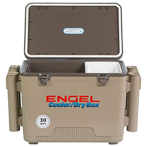 Engel Cooler Dry Box 19 Qt with Rod Holders – Tan