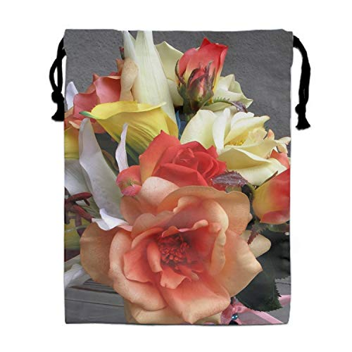 Rose Calla Lilies Flowers Bouquet Ribbon Party Supplies Favors Bags Drawstring Gifts Bags