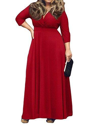 GSP-Damen Kleid - Übergrößen Übergröße / Sexy Solide Maxi Polyester / Elasthan V-Ausschnitt